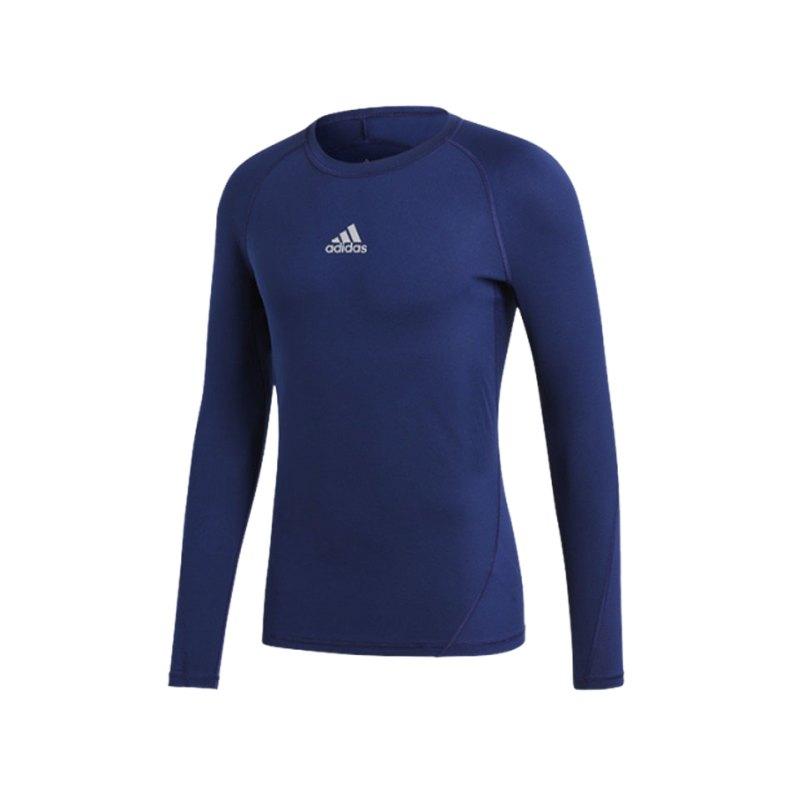 adidas Alphaskin Shirt langarm Kids Dunkelblau - blau