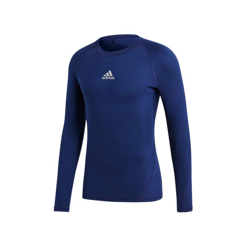 adidas Alphaskin Sport Shirt Longsleeve Dunkelblau - blau
