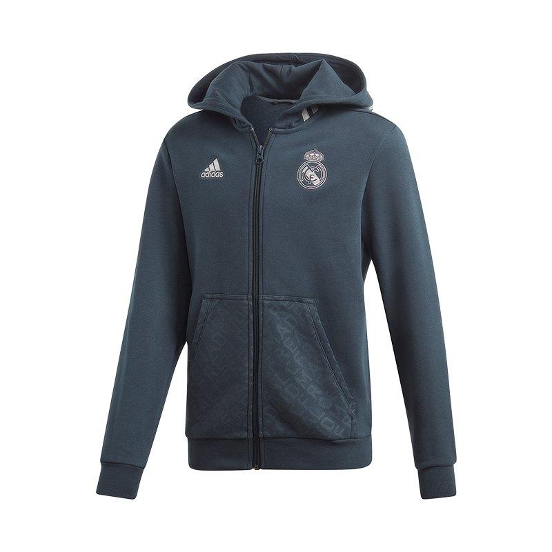 adidas Real Madrid Kapuzenjacke Kids Blau - blau