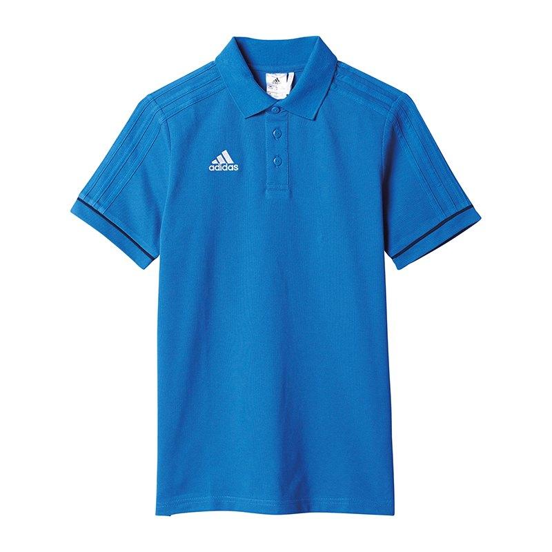 adidas Tiro 17 Poloshirt Kids Blau Weiss - blau