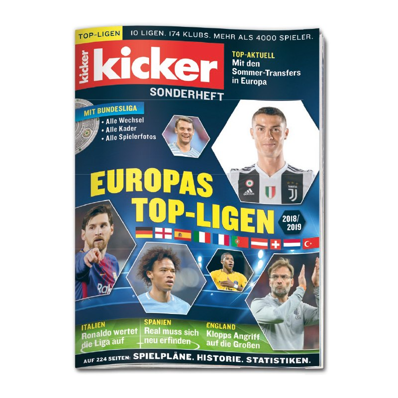 kicker Sonderheft Europas Top-Ligen 2018/2019 - blau