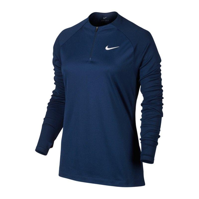Nike Drill Football Top 1/4 Zip langarm Damen F429 - blau