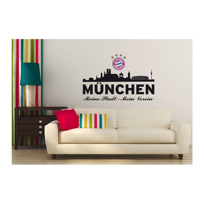fc bayern wandtattoo skyline schwarz schwarz. Black Bedroom Furniture Sets. Home Design Ideas
