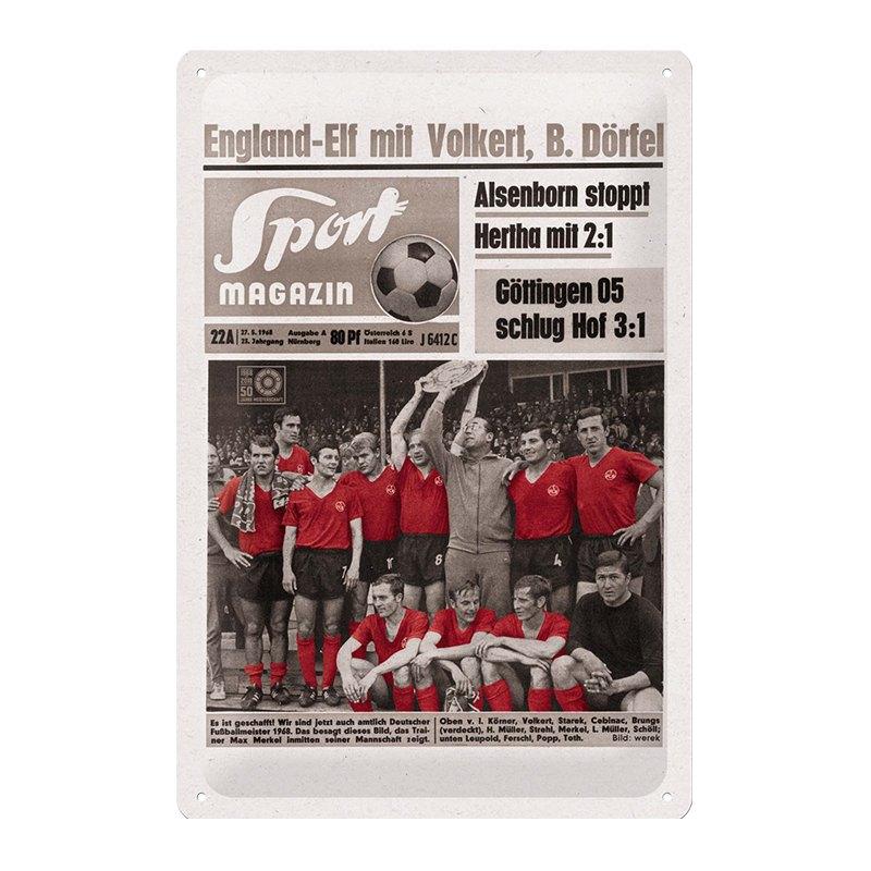 1. FC Nürnberg Blechschild Sportmagazin 1968 - grau