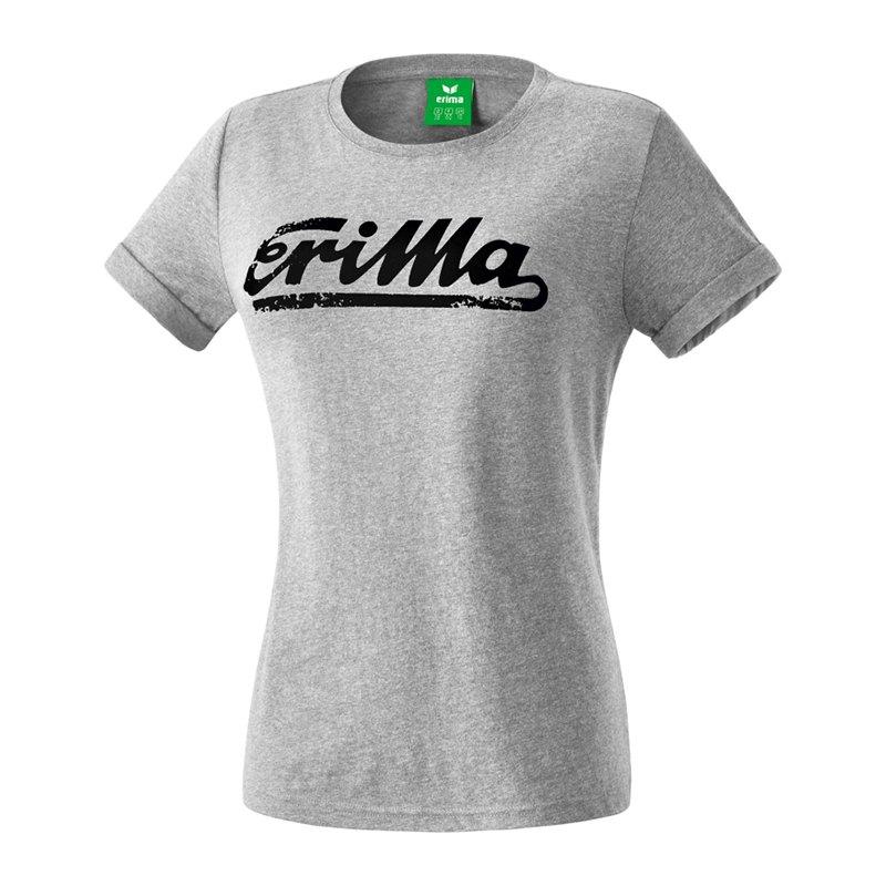 Erima Retro T-Shirt Damen Grau Schwarz - grau