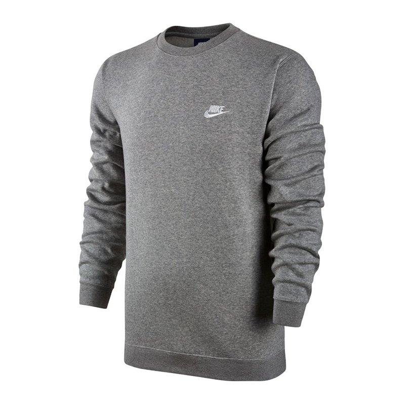 nike crew fleece sweatshirt grau weiss f063. Black Bedroom Furniture Sets. Home Design Ideas