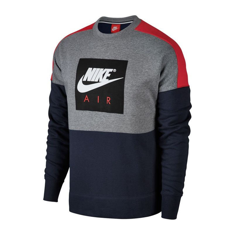 nike crew sweatshirt grau blau rot f092. Black Bedroom Furniture Sets. Home Design Ideas