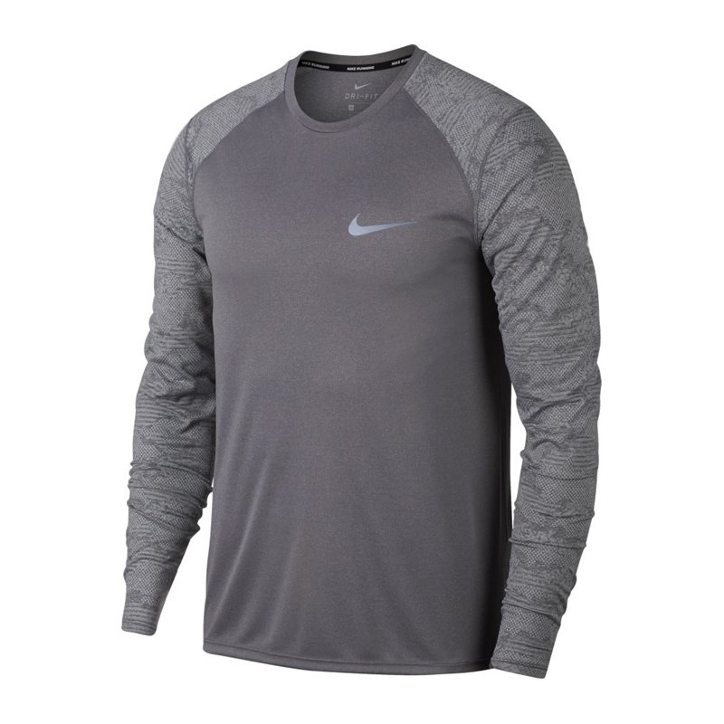 nike dry miler sweatshirt running grau f036. Black Bedroom Furniture Sets. Home Design Ideas