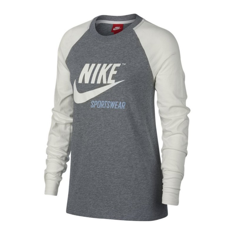 nike tee sweatshirt damen grau weiss f091 lifestyleshirt. Black Bedroom Furniture Sets. Home Design Ideas
