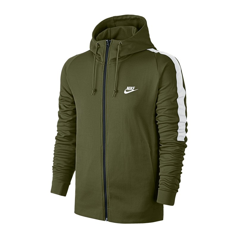 Nike Kapuzensweatjacke Grün Weiss F395 - gruen