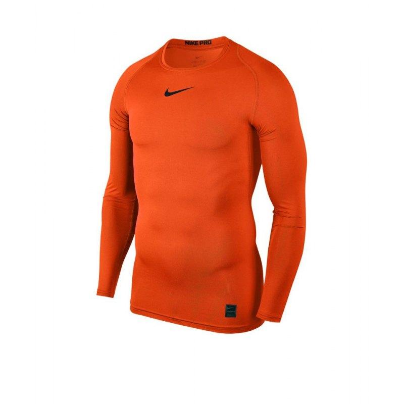 Nike Pro Compression LS Shirt Orange F819 - orange