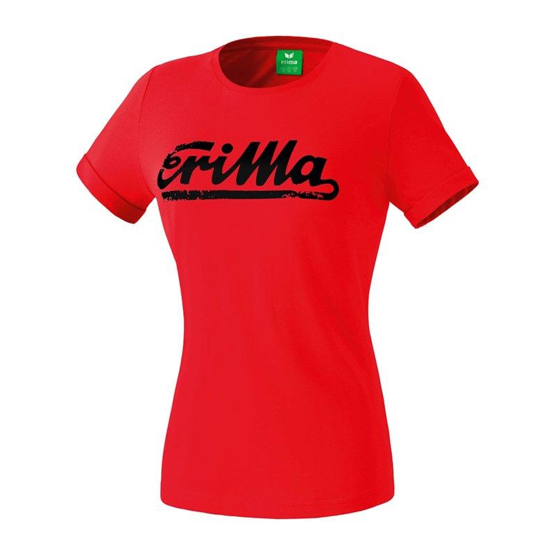 Erima Retro T-Shirt Damen Rot Schwarz - rot