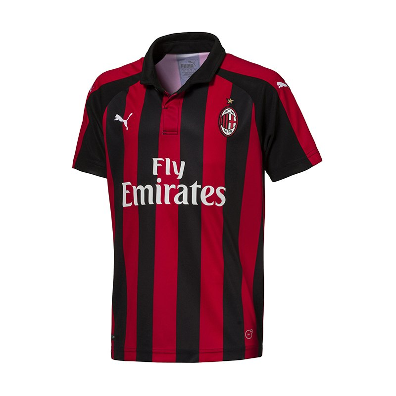 puma ac mailand trikot home 2018 2019 kids rot f06 fanbekleidung fantum ausr stung 10106448. Black Bedroom Furniture Sets. Home Design Ideas