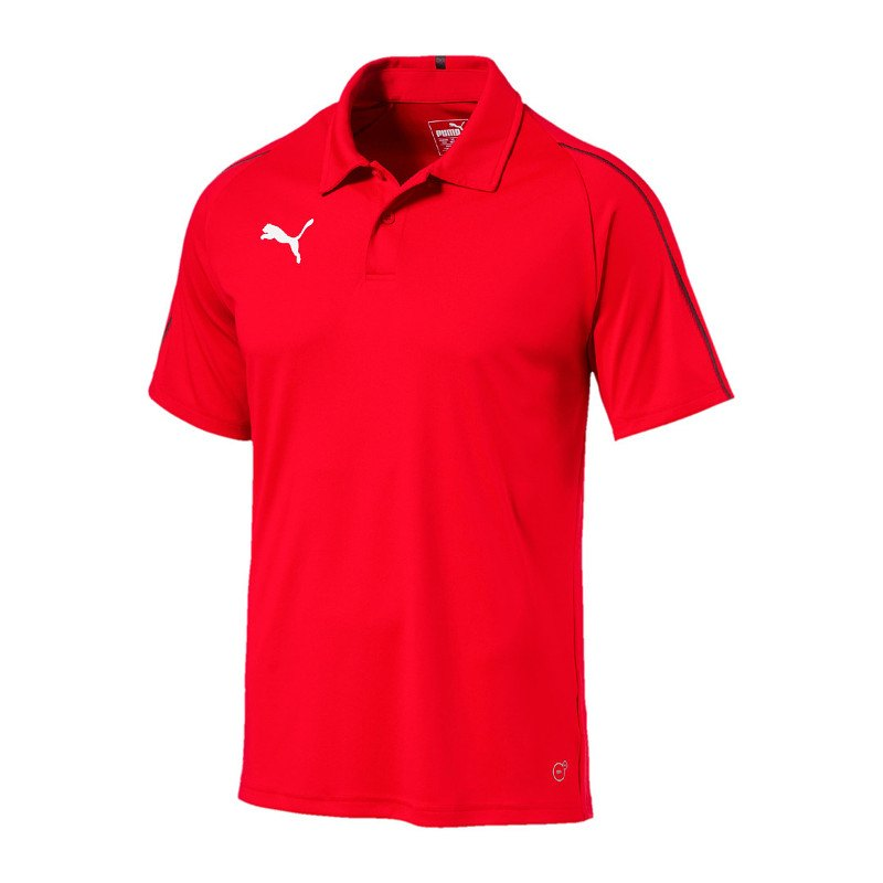 PUMA FINAL Sideline Poloshirt Rot Schwarz F01 - rot