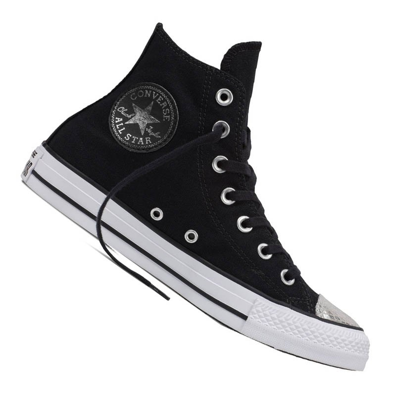 converse chuck taylor as hi damen schwarz silber schwarz. Black Bedroom Furniture Sets. Home Design Ideas