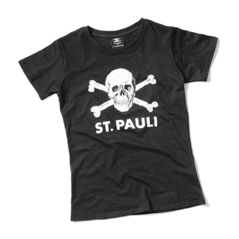 FC St. Pauli Shirt Totenkopf Damen - schwarz