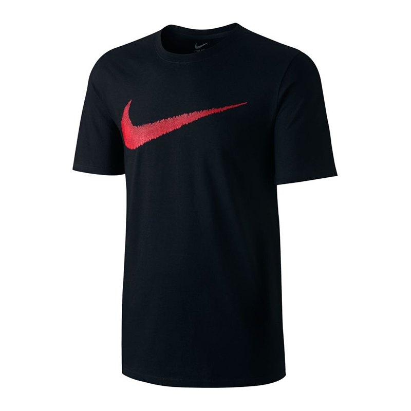 Nike Hangtag Swoosh T-Shirt Schwarz Rot F010 - schwarz