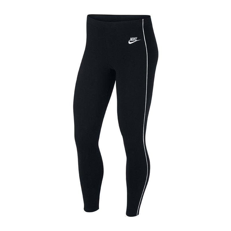 Nike Heritage Leggings Damen Schwarz Weiss F010 - schwarz