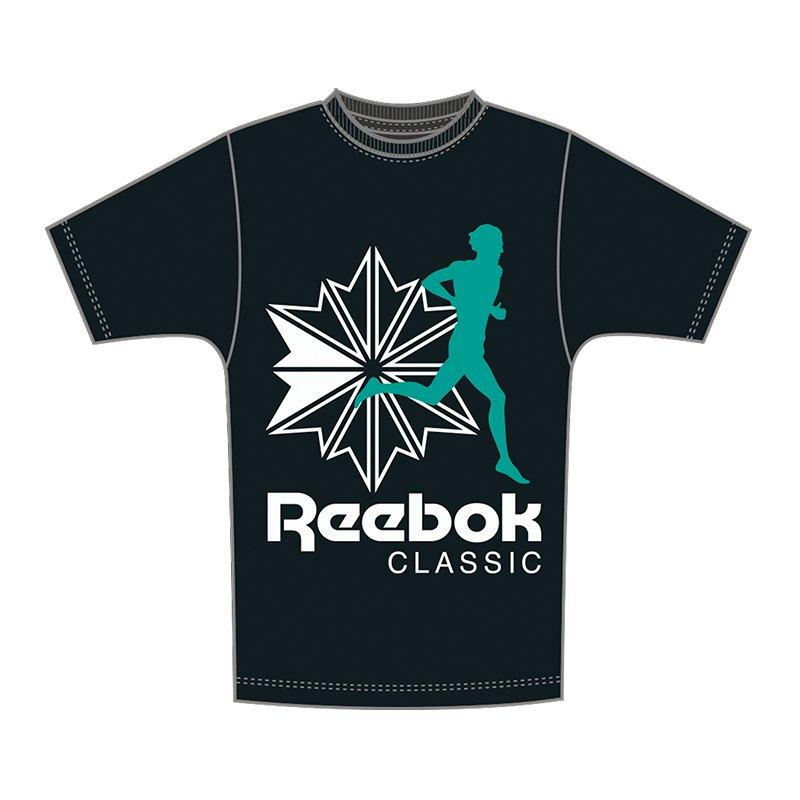 Reebok Classics F CLR Tee T-Shirt Schwarz Grün - schwarz