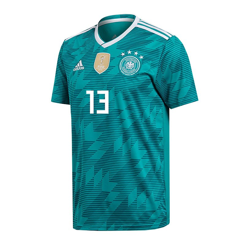 adidas DFB Deutschland Trikot Away WM 2018 Türkis inkl. Müller 13 - tuerkis