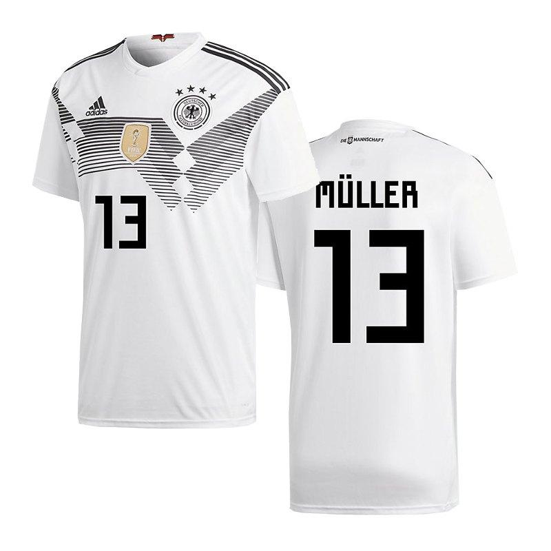 adidas DFB Deutschland Trikot Home WM 2018 Weiss inkl. Müller 13 - weiss