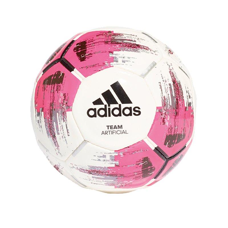 adidas TEAM Artificial Trainingsball Weiss Rosa - weiss