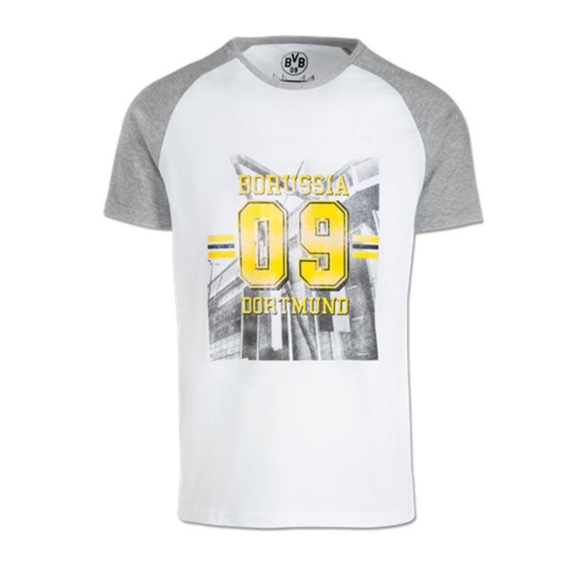 Borussia Dortmund Tee T-Shirt Weiss Grau - weiss