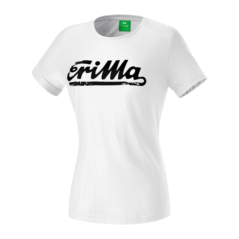 Erima Retro T-Shirt Damen Weiss Schwarz - weiss