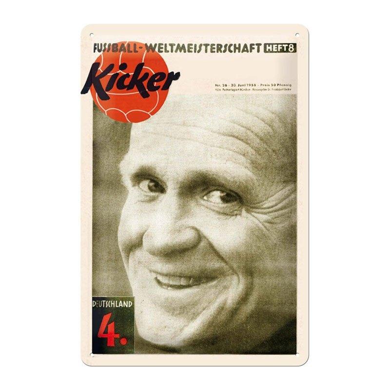 kicker Retro-Blechschild 1958 - weiss