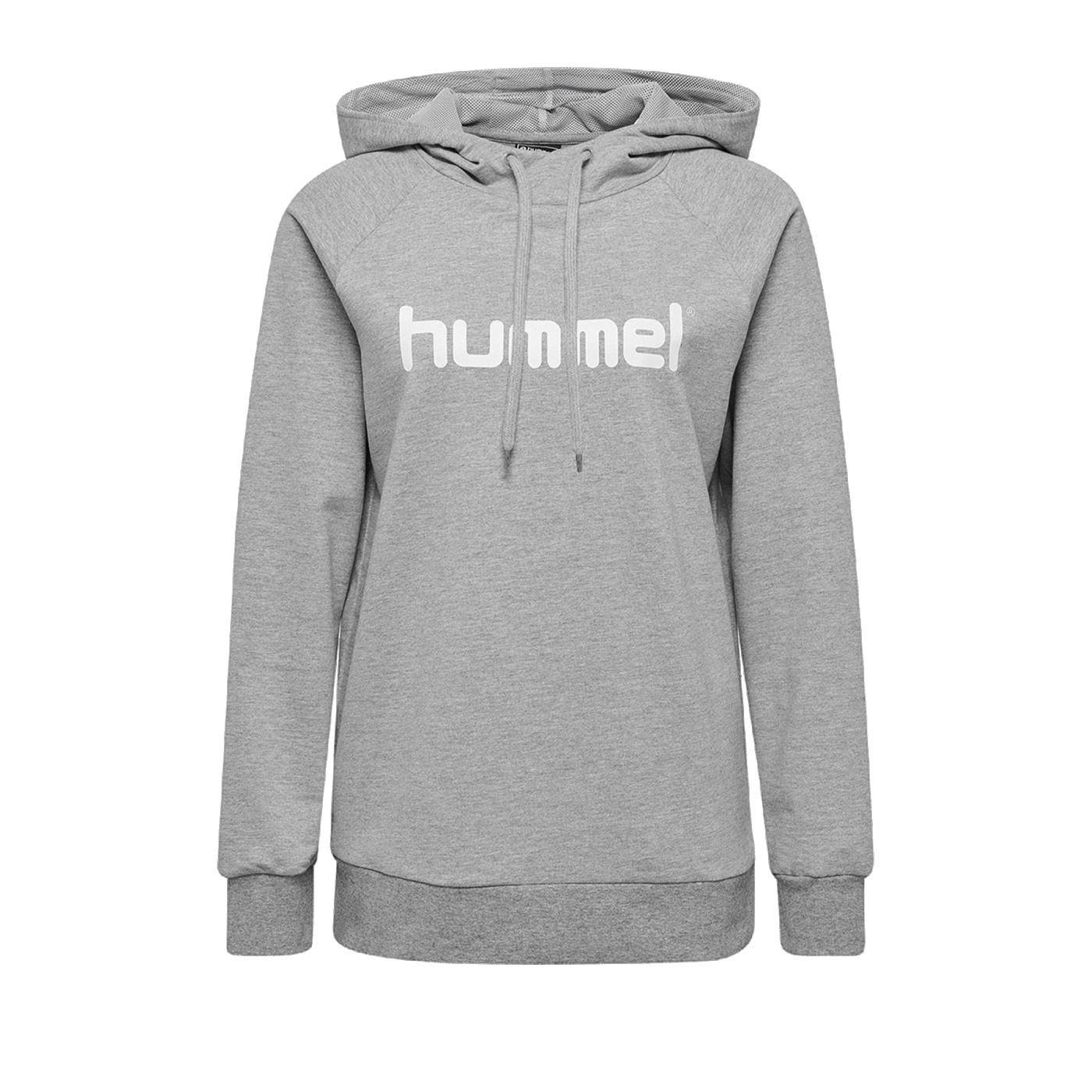 Hummel Cotton Logo Hoody Damen Grau F2006 - Grau